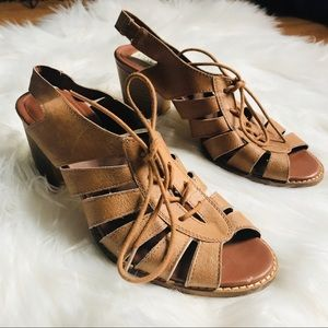 Steve Madden 'Baara' leather lace up block sandals